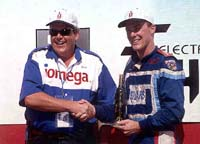 Dave Phillips presenting Kevin Harvick his trophy for Sears Point Win.