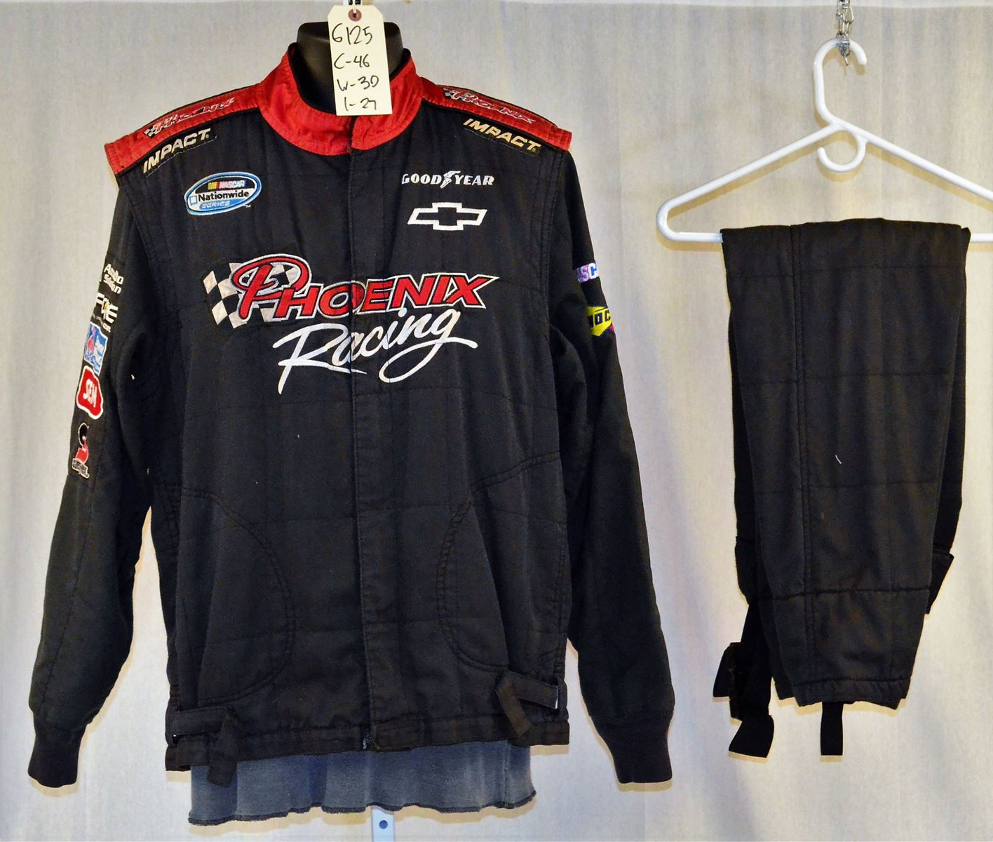 Racing Fire Suits >> Phoenix Racing Impact Sfi 5 3 Pc Race Used Nascar Fire Suit 6125 C46 W30 I27