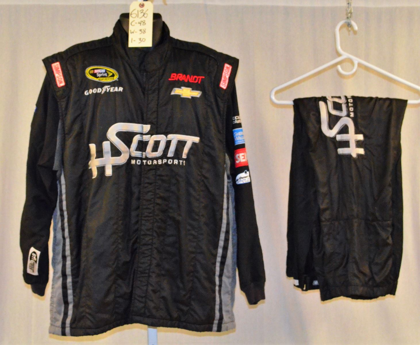 Racing Fire Suits >> Hscott Race Used 3 Piece Simpson Sfi 5 Nascar Racing Fire Suit 6136 C48 W38 I30