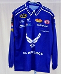 Aric Almirola Air Force Race Used Petty NASCAR Pit Crew Shirt. Stains MEDIUM