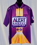 Elliott Sadler Alert Energy Gum Race Used NASCAR Pit Crew Shirt. SIZE 2XL