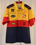 BG Pep Boys Indy Racing League. Used pit crew shirt. Multiple Autographs. LARGE