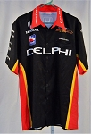Vitor Meira Delphi Panther Racing Race Used IndyCar Pit Crew Shirt. SIZE MEDIUM