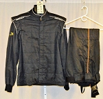 Impact Racing Black Race Used SFI-5 2-pc Firesuit #6189 c50/w40/i30