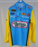Richard Petty Aric Almirola NATHAN'S USED NASCAR LS Pit Crew Shirt-STAINS MEDIUM