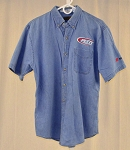 Petty Enterprises Race Used Team Issued Short Sleeve Denim Shirt. SIZE MEDIUM