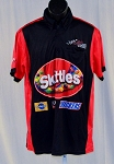 Kyle Busch Skittles JGR Race Used NASCAR Pit Crew Shirt. SIZE MEDIUM