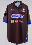 2018 Kyle Busch Snickers Race Used NASCAR Pit Crew Shirt. SIZE LARGE