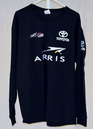 Daniel Suarez Arris Joe Gibbs Race Used NASCAR LS T-shirt. SIZE XL