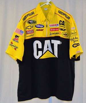 Vintage Jeff Burton CAT RCR EMBROIDERED Race Used NASCAR Pit Crew Shirt. SIZE XL