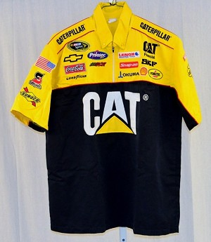 Jeff Burton Caterpillar Race Used NASCAR Pit Crew Shirt. V1 EMBROIDERED! LARGE