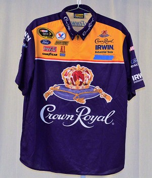 Jamie McMurray Crown Royal Race Used NASCAR Pit Crew Shirt. SIZE XL