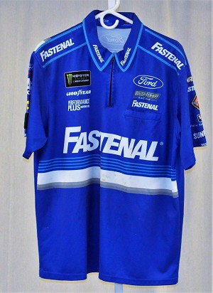 2018 Ricky Stenhouse Fastenal  Monster Race Used Pit Crew Shirt. SIZE XL