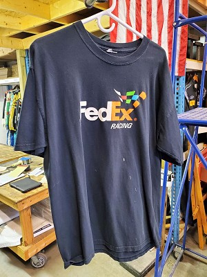 Denny Hamlin FedEx Race Used NASCAR T-shirt. SIZE XL