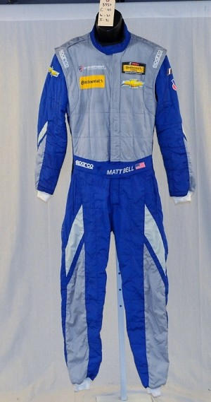 Sparco IMSA FIA rated NOMEX  Chevy Matt Bell DRIVER FIRE SUIT #5557 40/32/31