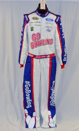 Brian Scott Petty GO BOWLING! MONSTER Race Used NASCAR DRIVER Suit #5820 40/34/33