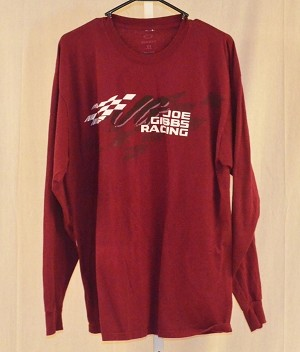 Joe Gibbs Racing Team Issue race used long sleeved NASCAR T-shirt. SIZE XL