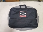 Simpson black and gray racing suit case. Race used